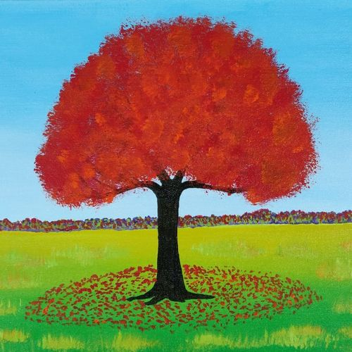 autumn tree, 14 x 18 inch, monideepa biswas sarkar,14x18inch,canvas,paintings,landscape paintings,paintings for living room,acrylic color,GAL01061122404