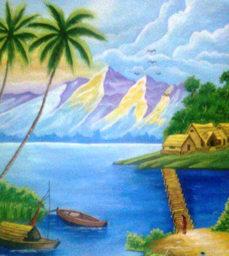 nature on wall, 12 x 17 inch, shweta goyal,nature paintings,paintings for living room,paintings,thick paper,poster color,12x17inch,GAL08452241Nature,environment,Beauty,scenery,greenery,trees,water,beautiful,leaves,coconut tree,houses,boats