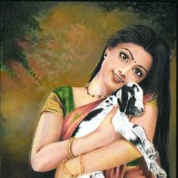an young lady with a lamb, 27 x 20 inch, john bosco mary,27x20inch,canvas,paintings,figurative paintings,oil,GAL01232322411
