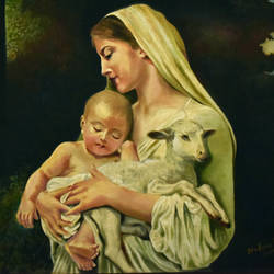 mother mary with child jesus and a lamb, 25 x 20 inch, john bosco mary,25x20inch,canvas,paintings,religious paintings,oil,GAL01232322412