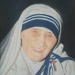 bharat ratna mother teresa, 17 x 23 inch, john bosco mary,17x23inch,canvas,paintings,mother teresa paintings,oil,GAL01232322413