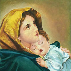 mother mary with infant jesus, 18 x 24 inch, john bosco mary,18x24inch,canvas,paintings,religious paintings,oil,GAL01232322414