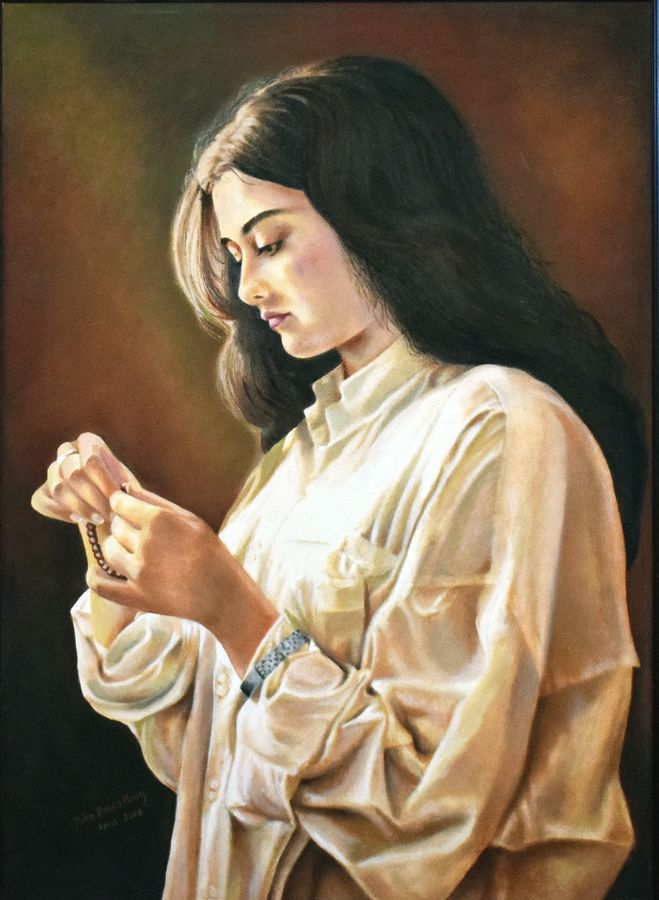 an young lady, 25 x 35 inch, john bosco mary,25x35inch,canvas,paintings,figurative paintings,portrait paintings,impressionist paintings,realism paintings,oil,GAL01232322418