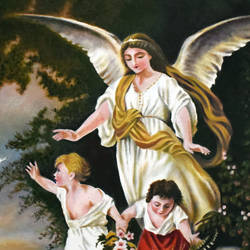 guardian angel on the mountain cliff, 23 x 34 inch, john bosco mary,23x34inch,canvas,paintings,religious paintings,impressionist paintings,oil,GAL01232322420