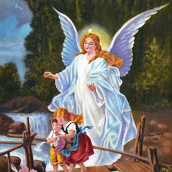 guardian angel on a bridge, 22 x 26 inch, john bosco mary,22x26inch,canvas,paintings,religious paintings,impressionist paintings,oil,GAL01232322421