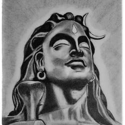 adiyogi statue, 8 x 11 inch, shivkumar  menon,8x11inch,drawing paper,drawings,paintings for living room,art deco drawings,fine art drawings,portrait drawings,paintings for living room,graphite pencil,GAL098622423
