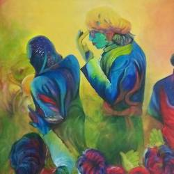 vrindavan holi, 36 x 24 inch, shatakshi  sharma,36x24inch,canvas,paintings,abstract paintings,figurative paintings,paintings for dining room,paintings for bedroom,paintings for office,paintings for hotel,paintings for school,paintings for dining room,paintings for bedroom,paintings for office,paintings for hotel,paintings for school,acrylic color,GAL0670322425