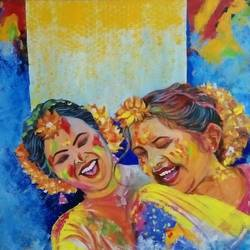 phool holi, 36 x 24 inch, shatakshi  sharma,36x24inch,canvas,paintings,abstract paintings,figurative paintings,modern art paintings,portrait paintings,paintings for dining room,paintings for living room,paintings for bedroom,paintings for office,paintings for kids room,paintings for hotel,paintings for school,paintings for hospital,acrylic color,GAL0670322426