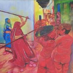 latthamaar holi, 36 x 24 inch, shatakshi  sharma,36x24inch,canvas,paintings,abstract paintings,figurative paintings,modern art paintings,photorealism paintings,realistic paintings,paintings for dining room,paintings for living room,paintings for bedroom,paintings for office,paintings for hotel,paintings for school,acrylic color,GAL0670322428