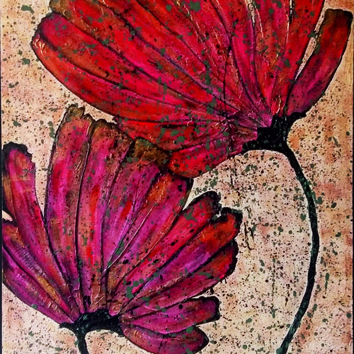 scarlet bloom, 16 x 24 inch, neha chhabria,16x24inch,canvas board,paintings,flower paintings,modern art paintings,paintings for dining room,paintings for living room,paintings for bedroom,paintings for office,paintings for hotel,mixed media,GAL0341822429
