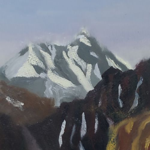 himalayan peak, 14 x 12 inch, dipali deshpande,14x12inch,hardboard,paintings,landscape paintings,art deco paintings,impressionist paintings,contemporary paintings,paintings for dining room,paintings for living room,paintings for bedroom,paintings for office,paintings for kids room,paintings for hotel,paintings for school,paintings for hospital,oil,GAL016322437