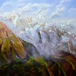 the mountain trail, 36 x 36 inch, dipali deshpande,36x36inch,canvas,paintings,landscape paintings,nature paintings,impressionist paintings,realism paintings,contemporary paintings,paintings for dining room,paintings for living room,paintings for bedroom,paintings for office,paintings for hotel,paintings for school,paintings for hospital,oil,GAL016322443Nature,environment,Beauty,scenery,greenery