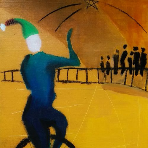 christmas at kerala - elf on unicycle, 16 x 24 inch, tijo thomas,16x24inch,canvas board,paintings,abstract paintings,modern art paintings,conceptual paintings,expressionist paintings,illustration paintings,contemporary paintings,paintings for dining room,paintings for living room,paintings for bedroom,paintings for office,paintings for kids room,paintings for hotel,paintings for school,paintings for hospital,acrylic color,charcoal,fabric,GAL01171322466
