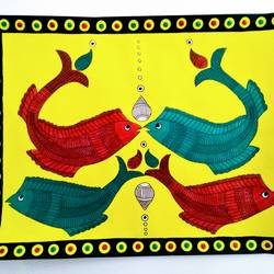 madhubani painting - all fish, 15 x 12 inch, geeta kwatra,15x12inch,ivory sheet,paintings,madhubani paintings,paintings for living room,mixed media,GAL0899122471
