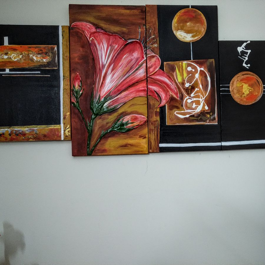 the dancing flower, 42 x 24 inch, sumita srivastava,42x24inch,canvas,paintings,abstract paintings,paintings for living room,paintings for office,paintings for hotel,paintings for hospital,acrylic color,ceramic work,GAL0261122474