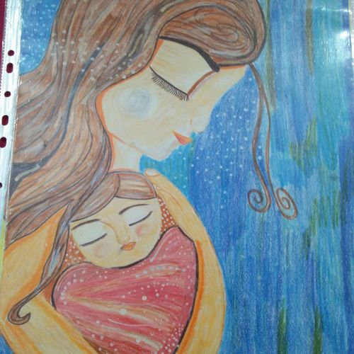 mother's love, 12 x 17 inch, madhvi sharma,12x17inch,ivory sheet,drawings,paintings for bedroom,paintings for kids room,paintings for school,illustration drawings,paintings for bedroom,paintings for kids room,paintings for school,pen color,pencil color,GAL01245522477