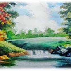 landscape , 16 x 11 inch, diptonil banerjee,16x11inch,handmade paper,paintings,nature paintings,oil,GAL01103222482Nature,environment,Beauty,scenery,greenery