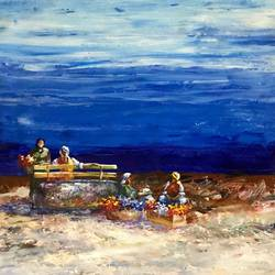 by the sea-side, 24 x 24 inch, priyanka dutt,24x24inch,canvas,paintings,figurative paintings,paintings for living room,paintings for office,paintings for hotel,paintings for hospital,acrylic color,GAL087922490