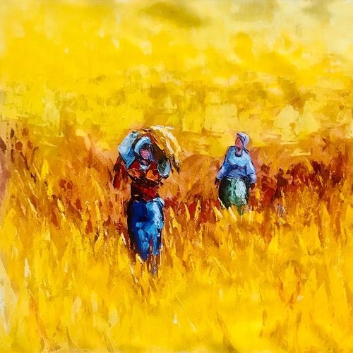 day in fields, 24 x 30 inch, priyanka dutt,24x30inch,canvas,paintings,figurative paintings,paintings for living room,paintings for office,paintings for hotel,paintings for hospital,acrylic color,GAL087922491
