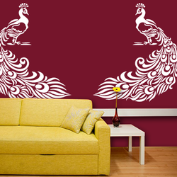 wall stencil: royal peacock stencils, 3 stencils (size 14x12, 14x12, 9x13 inches) | reusable | diy, 12 x 12 inch, wall stencil designs,12x12inch,ohp plastic sheets,flower designs,plastic,GAL0122492,GAL0122492