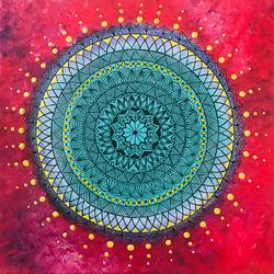 mandala, 12 x 12 inch, priyanka dutt,12x12inch,canvas,paintings,abstract paintings,paintings for living room,paintings for bedroom,paintings for office,paintings for bathroom,paintings for hotel,acrylic color,GAL087922493