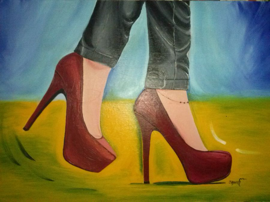 long way on heels , 16 x 24 inch, aparna warade,figurative paintings,paintings for living room,canvas,oil,16x24inch,GAL089225