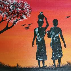 rural india, 12 x 16 inch, monideepa biswas sarkar,12x16inch,canvas,paintings,abstract paintings,paintings for dining room,paintings for bedroom,paintings for hotel,acrylic color,GAL01061122500