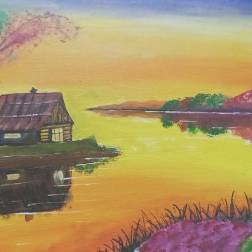eveningsky, 19 x 15 inch, ankush reddy,19x15inch,canvas board,paintings,nature paintings,paintings for dining room,paintings for living room,paintings for bedroom,acrylic color,GAL01252722529Nature,environment,Beauty,scenery,greenery