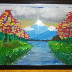 mountains, 9 x 12 inch, gerald jerry,9x12inch,drawing paper,paintings,nature paintings,paintings for bedroom,paintings for hotel,paintings for bedroom,paintings for hotel,watercolor,GAL01251822536Nature,environment,Beauty,scenery,greenery
