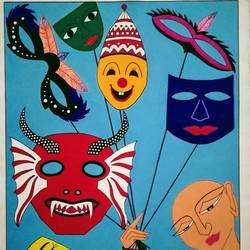 mukhote or masks, 23 x 30 inch, geeta kwatra,23x30inch,canvas,paintings,abstract paintings,paintings for kids room,acrylic color,GAL0899122538
