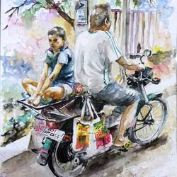 father and son, 12 x 17 inch, biswadeep sarkar,12x17inch,thick paper,paintings,figurative paintings,paintings for living room,paintings for living room,watercolor,GAL01256222547