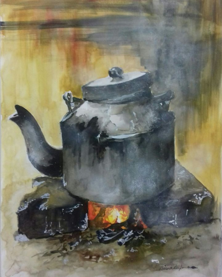 the kettle , 12 x 17 inch, biswadeep sarkar,12x17inch,thick paper,paintings,still life paintings,paintings for dining room,watercolor,GAL01256222549