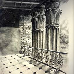 basubati ruins, 12 x 17 inch, biswadeep sarkar,12x17inch,thick paper,paintings,cityscape paintings,paintings for hotel,charcoal,GAL01256222550