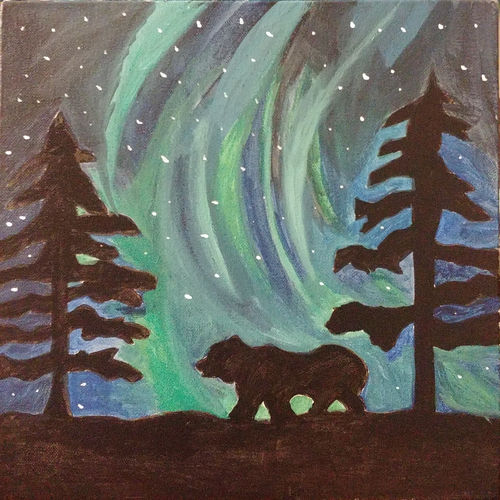 northern lights with starry night sky and a polar bear silhouette, 12 x 12 inch, damini benipuri,12x12inch,canvas,paintings,wildlife paintings,landscape paintings,nature paintings,paintings for living room,paintings for living room,acrylic color,GAL01256522553Nature,environment,Beauty,scenery,greenery