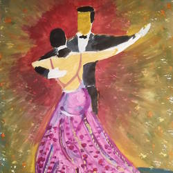dancing couple, 11 x 16 inch, gerald jerry,11x16inch,drawing paper,paintings,figurative paintings,paintings for living room,paintings for bedroom,watercolor,GAL01251822565