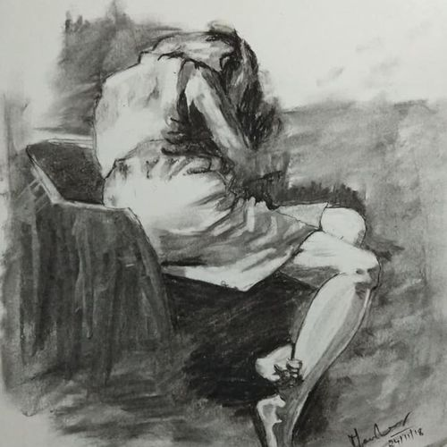 resting lady, 8 x 10 inch, manohar kasoju,8x10inch,thick paper,drawings,paintings for living room,paintings for bedroom,paintings for hotel,conceptual drawings,portrait drawings,paintings for living room,paintings for bedroom,paintings for hotel,charcoal,GAL01147922567