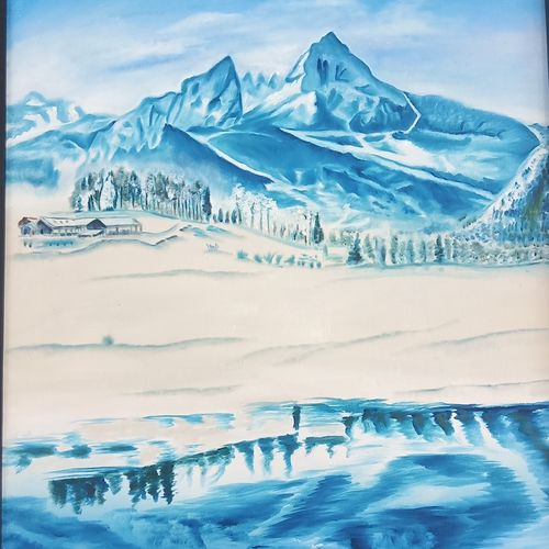 the snowy mountain, 25 x 37 inch, idris khaleel,25x37inch,canvas,paintings,nature paintings,paintings for dining room,paintings for living room,paintings for bedroom,paintings for office,paintings for kids room,paintings for hotel,paintings for school,acrylic color,oil,GAL01131722573Nature,environment,Beauty,scenery,greenery