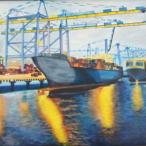 the cargo ship, 37 x 25 inch, idris khaleel,37x25inch,canvas,paintings,conceptual paintings,nature paintings,paintings for dining room,paintings for living room,paintings for bedroom,paintings for office,paintings for kids room,paintings for hotel,paintings for school,acrylic color,oil,GAL01131722574Nature,environment,Beauty,scenery,greenery