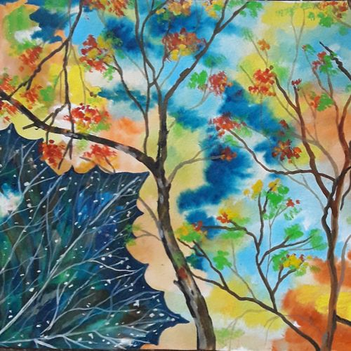 colours of autumn, 15 x 11 inch, subrata chakraborty,15x11inch,handmade paper,paintings,landscape paintings,conceptual paintings,nature paintings,paintings for dining room,paintings for living room,paintings for bedroom,paintings for office,paintings for hotel,paintings for school,paintings for hospital,acrylic color,GAL01168522578Nature,environment,Beauty,scenery,greenery