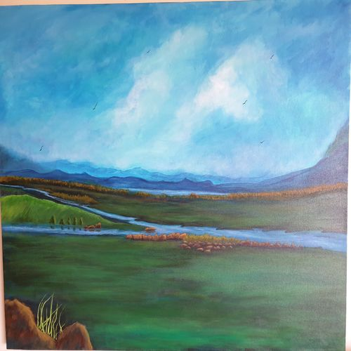 early morning, 36 x 32 inch, diiliip sinh,36x32inch,canvas,paintings,landscape paintings,paintings for dining room,paintings for living room,paintings for bedroom,paintings for office,paintings for hotel,paintings for hospital,paintings for dining room,paintings for living room,paintings for bedroom,paintings for office,paintings for hotel,paintings for hospital,acrylic color,GAL01260022590