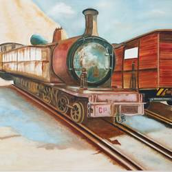 the wrecked freight train, 37 x 25 inch, idris khaleel,37x25inch,canvas,paintings,photorealism,paintings for dining room,paintings for living room,paintings for bedroom,paintings for office,paintings for kids room,paintings for hotel,paintings for school,oil,GAL01131722600