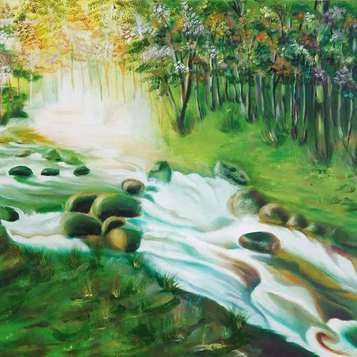 a beautiful flowing river, 37 x 25 inch, idris khaleel,37x25inch,canvas,paintings,landscape paintings,nature paintings,paintings for dining room,paintings for living room,paintings for bedroom,paintings for office,paintings for kids room,paintings for hotel,paintings for school,acrylic color,oil,GAL01131722602Nature,environment,Beauty,scenery,greenery