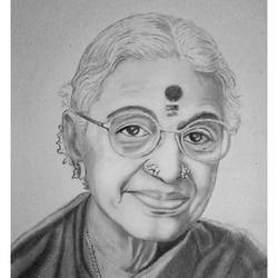 m.s. subbhalakshmi - indian carnatic singer, 8 x 11 inch, shivkumar  menon,8x11inch,drawing paper,drawings,art deco drawings,fine art drawings,portrait drawings,paintings for living room,graphite pencil,GAL098622605