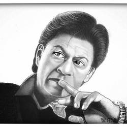 bollywood actor shhrukh khan also known as king khan, 11 x 8 inch, shivkumar  menon,11x8inch,drawing paper,drawings,art deco drawings,fine art drawings,portrait drawings,paintings for dining room,paintings for living room,graphite pencil,GAL098622607