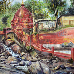 basistha temple, 16 x 20 inch, debojyoti boruah,16x20inch,canvas,paintings,landscape paintings,religious paintings,nature paintings,realistic paintings,paintings for dining room,paintings for living room,paintings for bedroom,paintings for office,paintings for hotel,paintings for hospital,acrylic color,GAL01261422616Nature,environment,Beauty,scenery,greenery