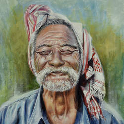 innocent farmer, 16 x 20 inch, debojyoti boruah,16x20inch,canvas,paintings,figurative paintings,portrait paintings,photorealism paintings,realism paintings,paintings for dining room,paintings for living room,paintings for bedroom,paintings for office,paintings for hotel,paintings for kitchen,paintings for hospital,acrylic color,GAL01261422618