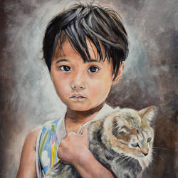 girl with a cat, 16 x 20 inch, debojyoti boruah,16x20inch,canvas,paintings,figurative paintings,portrait paintings,photorealism paintings,portraiture,realism paintings,animal paintings,realistic paintings,love paintings,children paintings,paintings for dining room,paintings for living room,paintings for bedroom,paintings for office,paintings for hotel,paintings for kitchen,paintings for school,paintings for hospital,acrylic color,GAL01261422619heart,family,caring,happiness,forever,happy,trust,passion,romance,sweet,kiss,love,hugs,warm,fun,kisses,joy,friendship,marriage,chocolate,husband,wife,forever,caring,couple,sweetheart