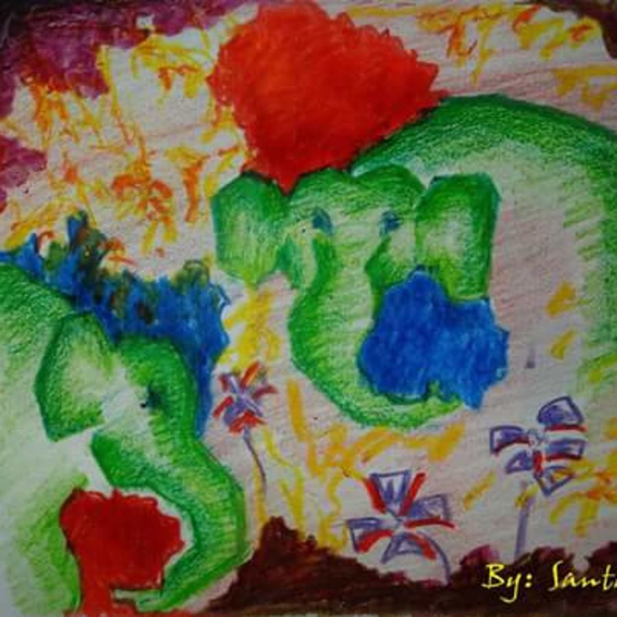 unique world, 18 x 12 inch, santanu dash,abstract paintings,paintings for living room,thick paper,pastel color,18x12inch,GAL08622262
