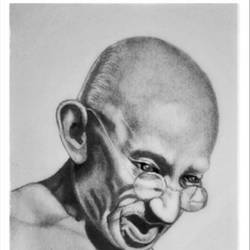 mohandas karamchand gandhi - father of indian nation, 8 x 11 inch, shivkumar  menon,8x11inch,drawing paper,drawings,paintings for dining room,paintings for living room,art deco drawings,fine art drawings,portrait drawings,paintings for dining room,paintings for living room,graphite pencil,GAL098622623