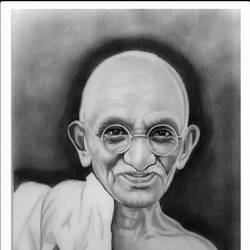 father of indian nation - mahatma gandhi, 8 x 11 inch, shivkumar  menon,8x11inch,drawing paper,drawings,art deco drawings,fine art drawings,portrait drawings,paintings for dining room,paintings for living room,graphite pencil,GAL098622624